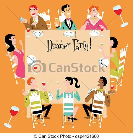 Dinner Party Invitation With A Variety Of Men Women Teenager