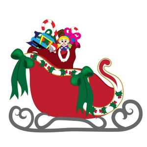 Free Sleigh Clip Art Image Santa S Sleigh With Lots Of Toys And