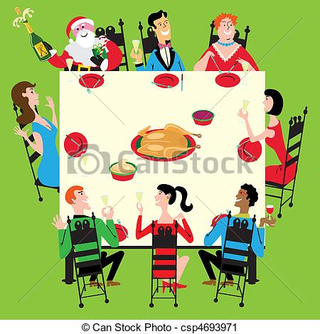 Italian Dinner Party Clip Art Dinner With Santa Clipart