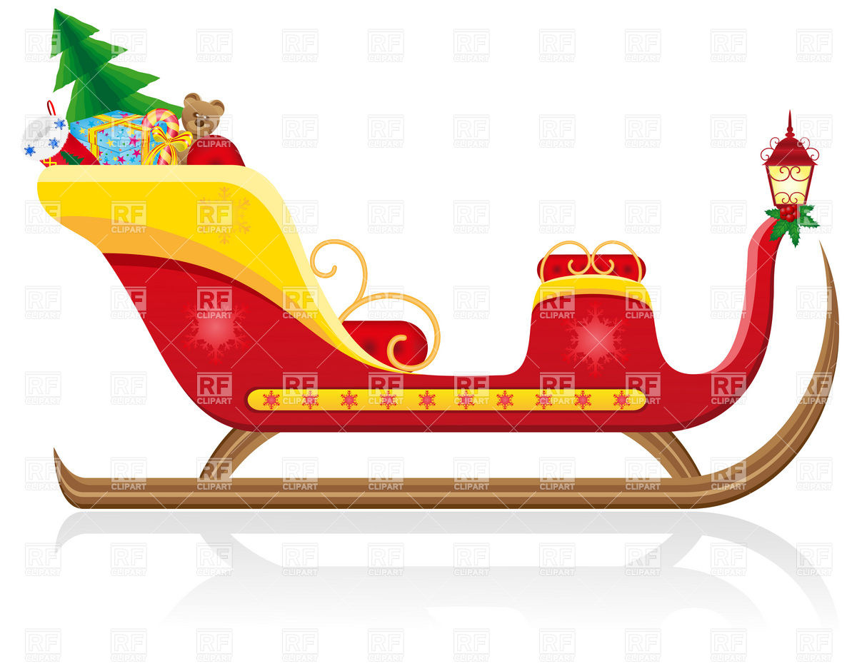 Santa Claus Christmas Sleigh Gifts   Side View Download Royalty Free