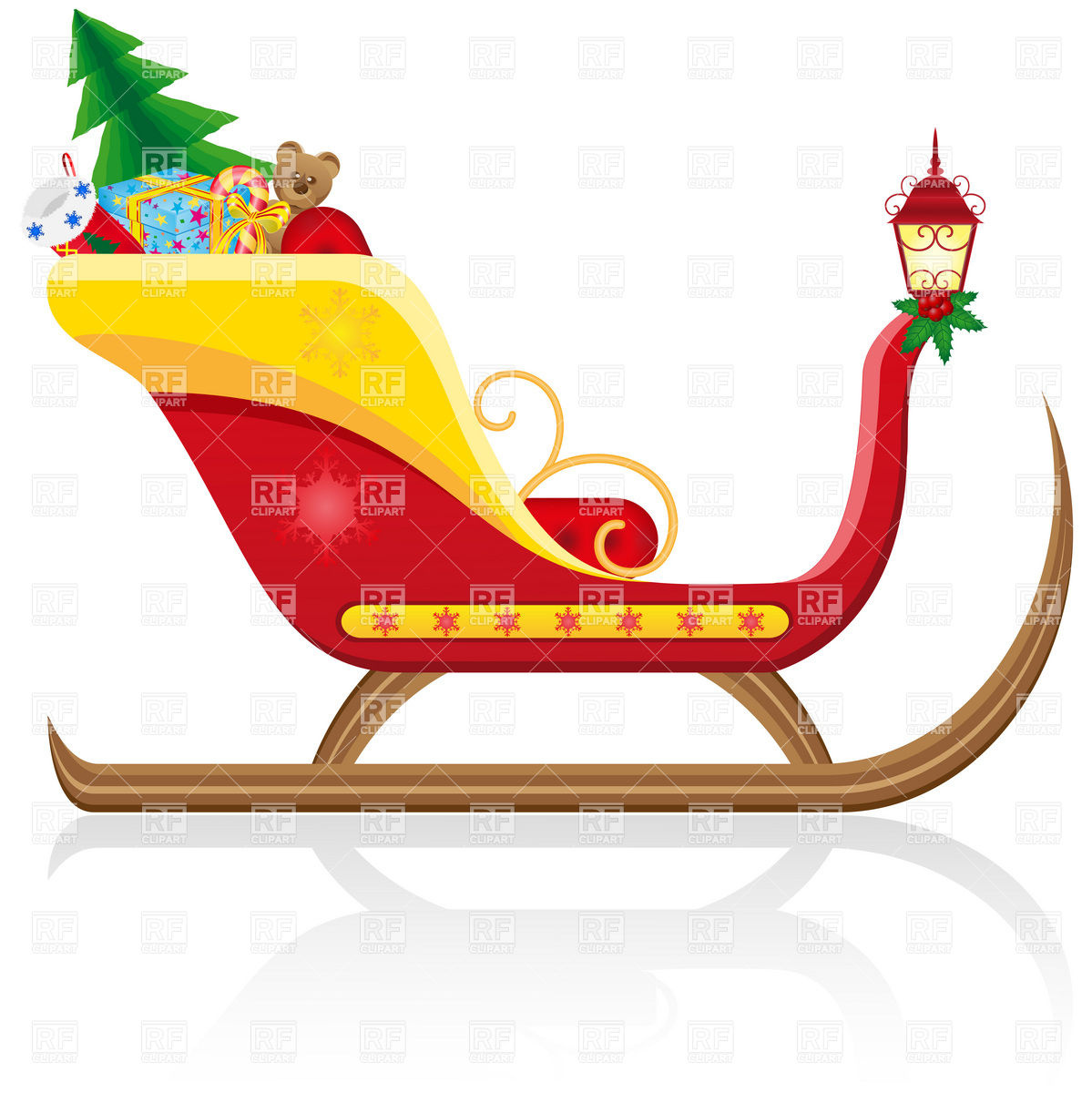 Santa Claus  Christmas Sleigh With Gifts Download Royalty Free Vector
