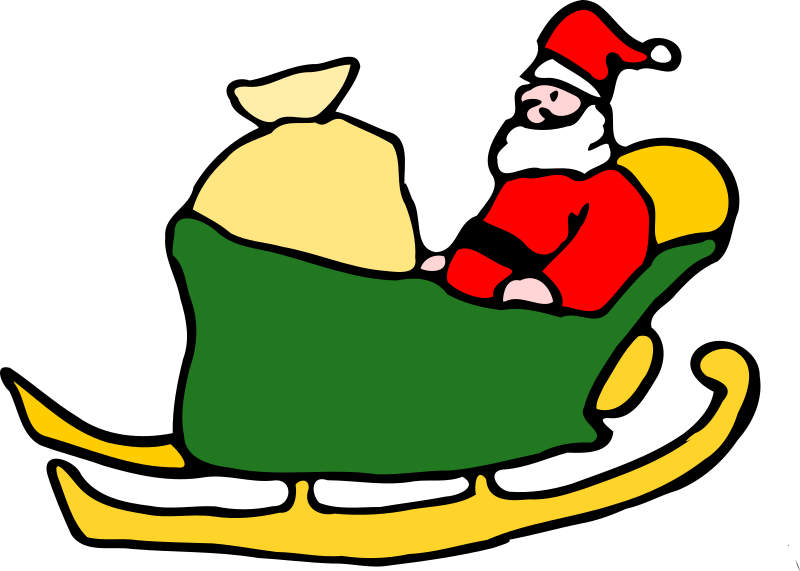 Santa In His Sleigh By Fen   Santa In A Green Sleigh With Sack Of