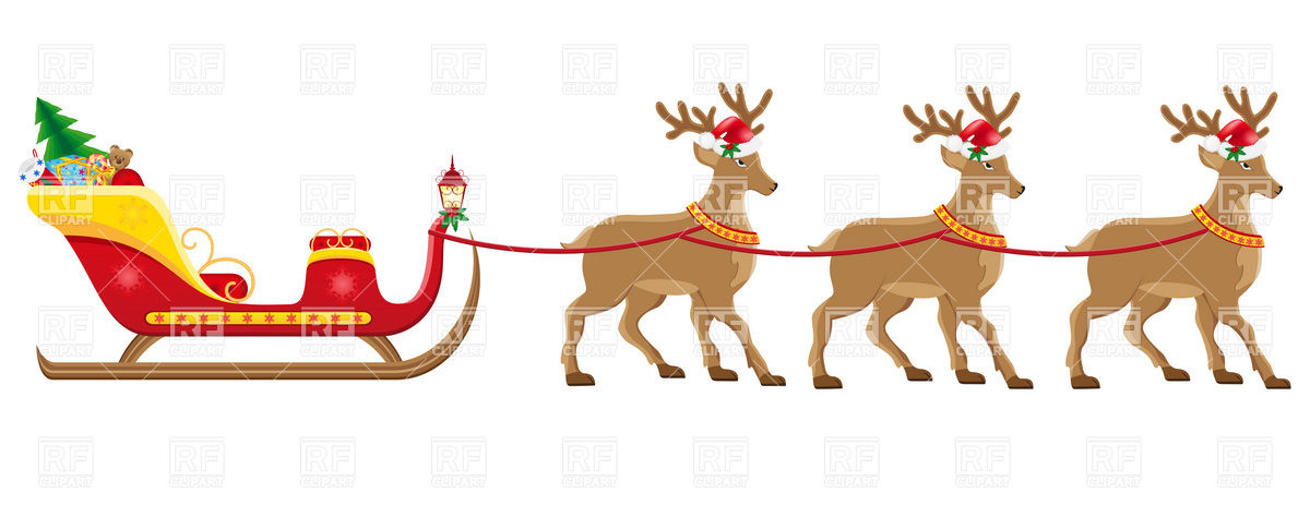 Santa S Christmas Sleigh With Reindeer Harness Download Royalty Free
