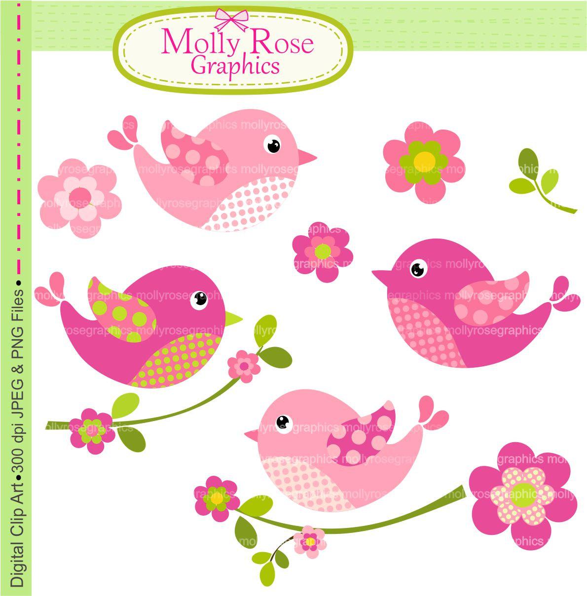 Birds Clip Art Digital Clip Art Birds And By Mollyrosegraphics