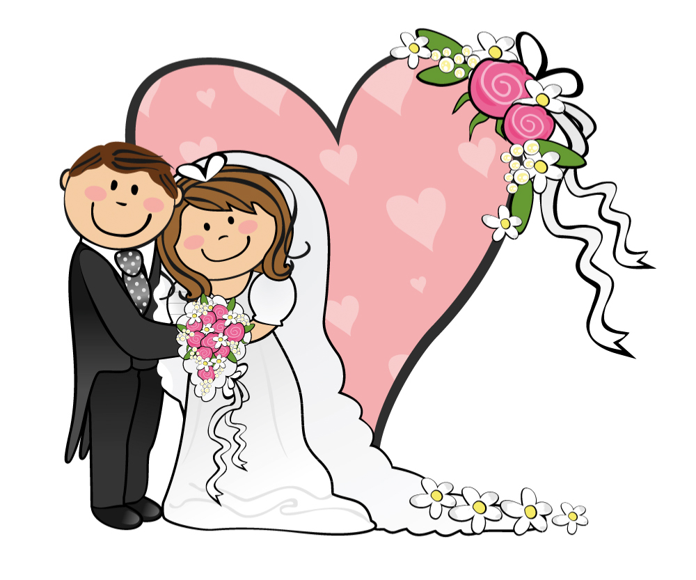 Clip Art Bride And Groom Clipart bride and groom clipart kid cartoon on wedding background of pink hearts