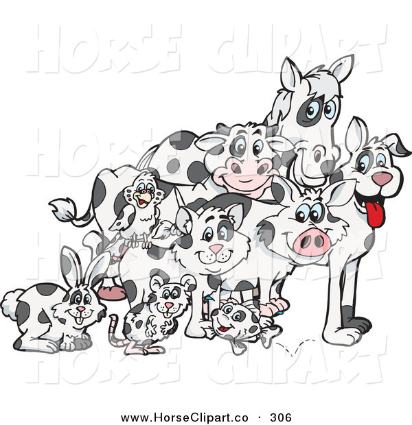 Clip Art Of A Group Of Rabbit Mouse Fish Cat Bird Pig Dog Cow
