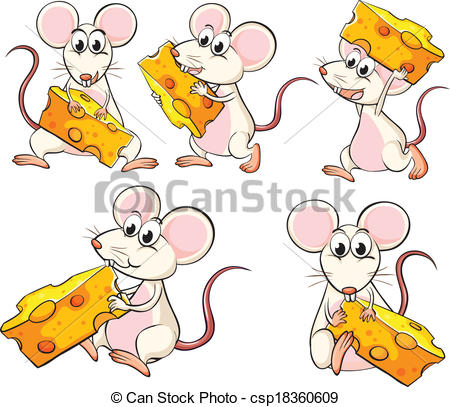 Illustration Of A Group Of Mice Carrying Slices Of Cheese On A White