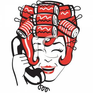 In Hair Rollers Talking On The Phone   Royalty Free Clipart Picture