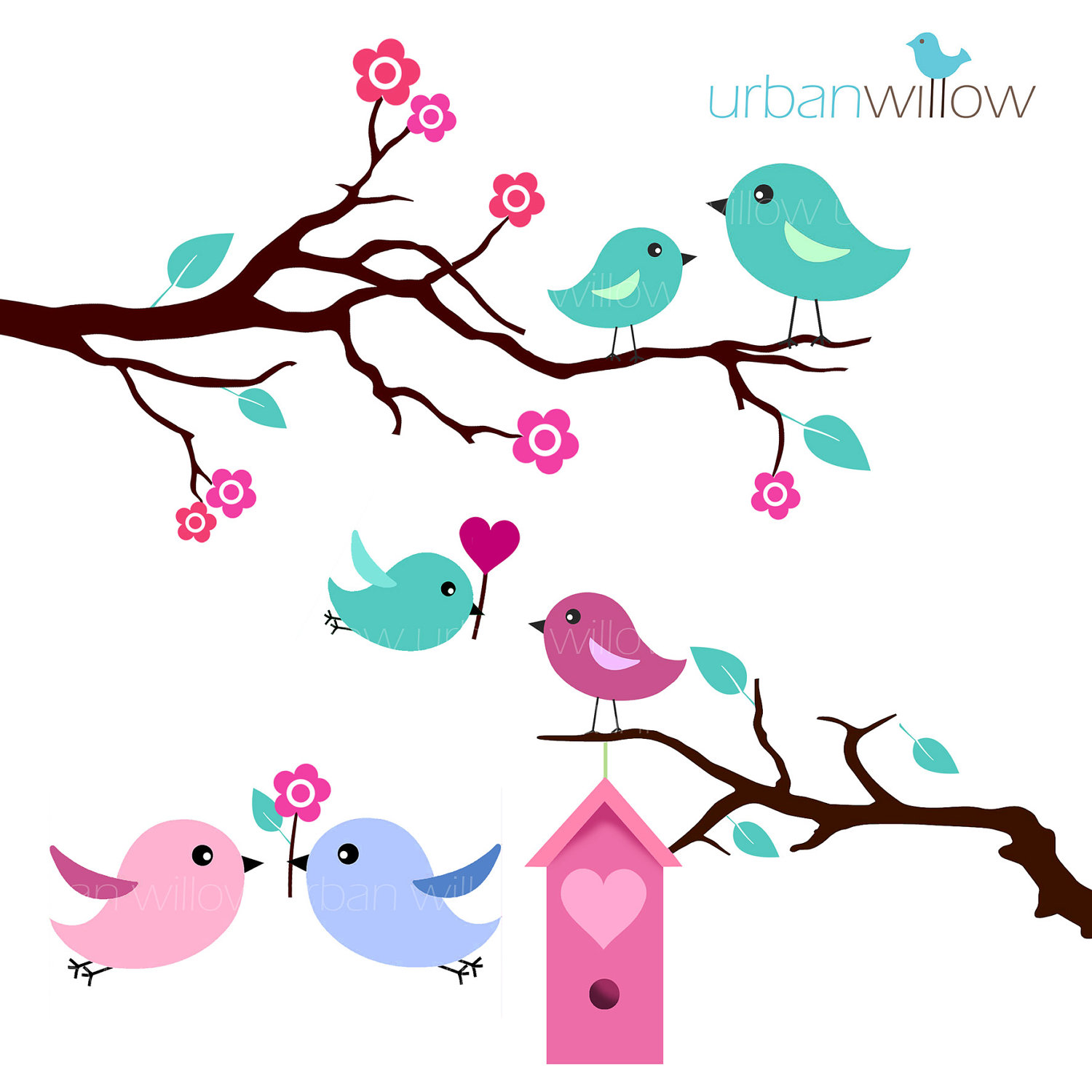 Mint Love Birds Clip Art Set In Jpeg   Png Files  By Urbanwillow