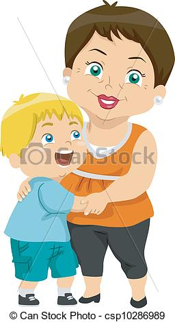 Vector Of Grandma And Grandson   Illustration Featuring A Grandma And