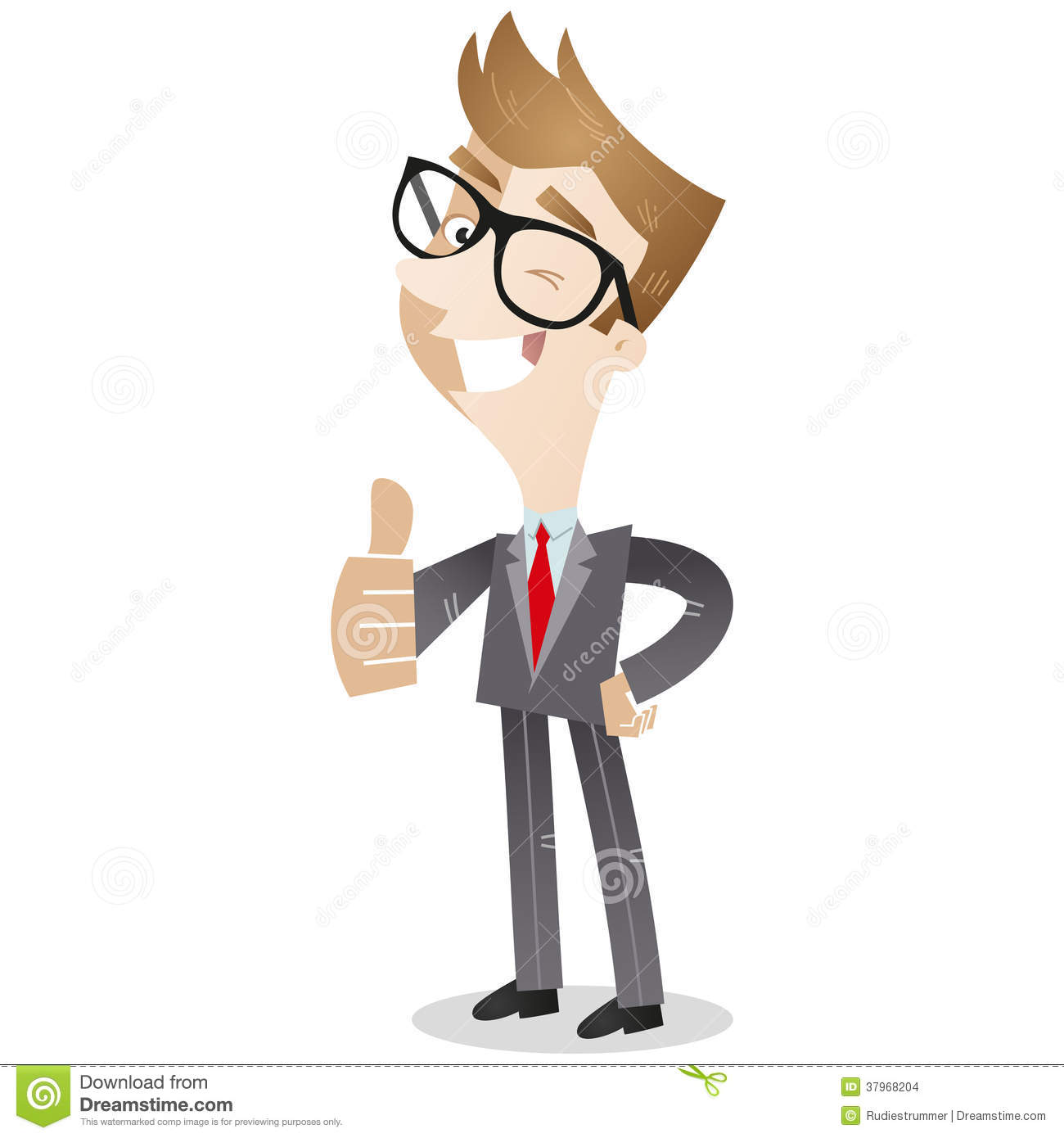 Cartoon Business Man In Three Quarter Profile Giving The Thumbs Up