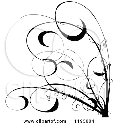 Clipart Of A Black And White Floral S Scroll Design   Royalty Free