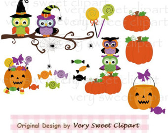 Halloween Candy Pumpkins And Owls Clipart Digital Illustration