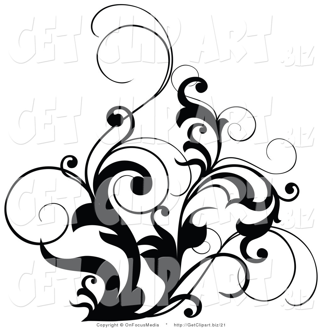 Larger Preview  Clip Art Of A Black And White Scrolling Design Accent