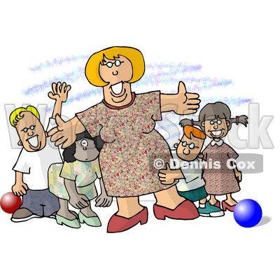 Standing With Children At A Daycare Clipart Picture   Djart  5907
