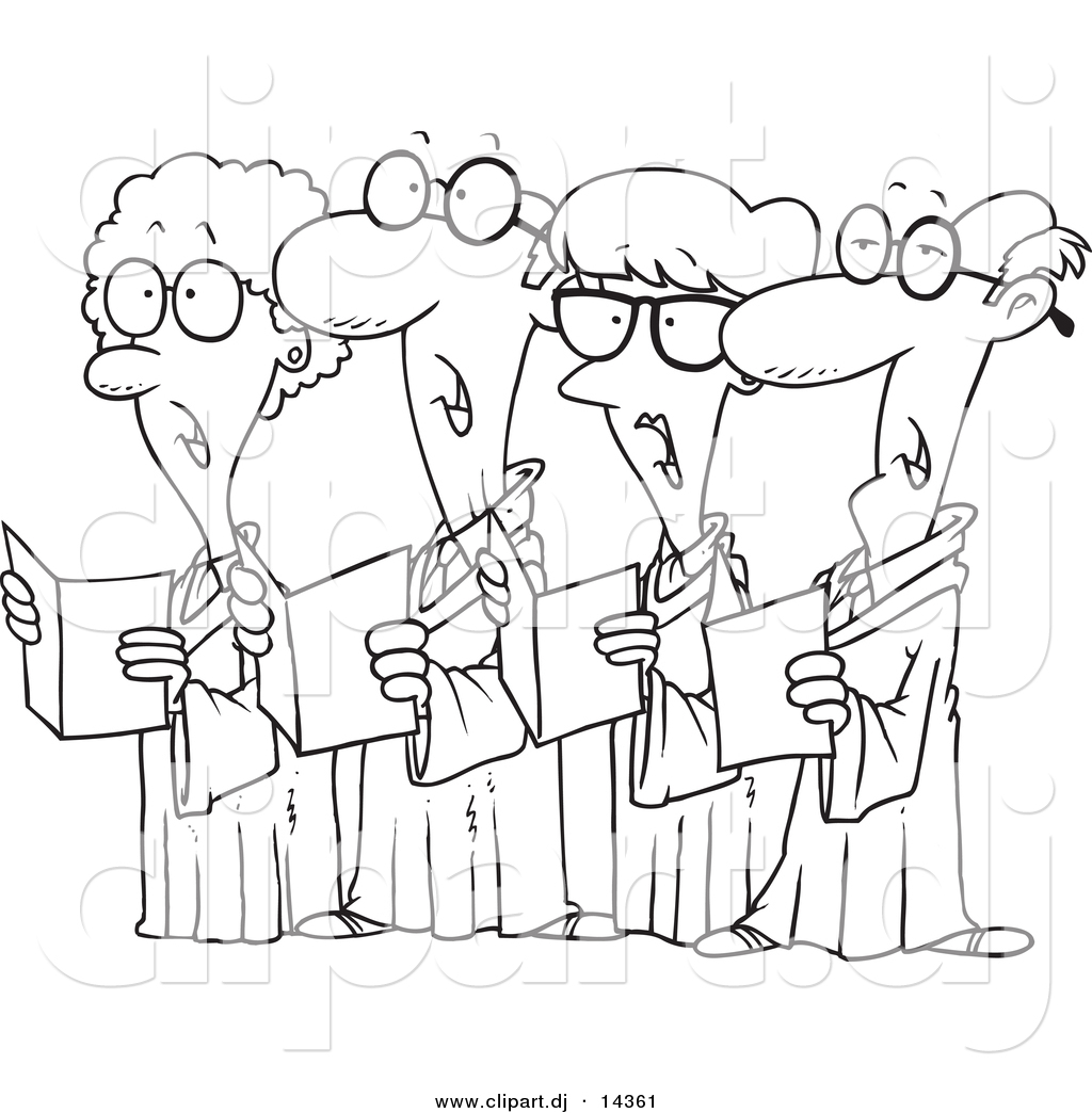 Vector Of Cartoon Choir With 4 Senior Men And Women Singing   Coloring