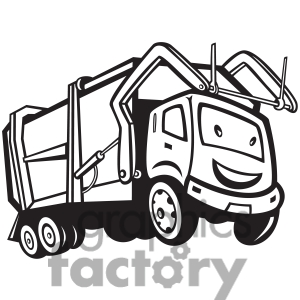 1417977 Black And White Rubbish Truck Cartoon Front Jpg