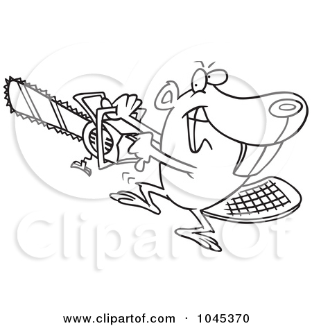 Cartoon Black And White Outline Design Of A Beaver Using A Chainsaw