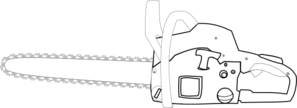 Chainsaw White Outlined Clip Art At Clker Com   Vector Clip Art Online