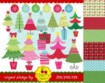 Christmas Funky Trees Digital Clip Art And Digital Papers Personal And