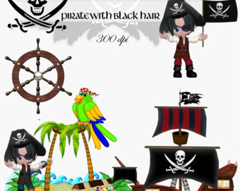 Clip Art  Pirate With Black Hair Transparent Png Digital Files No  005