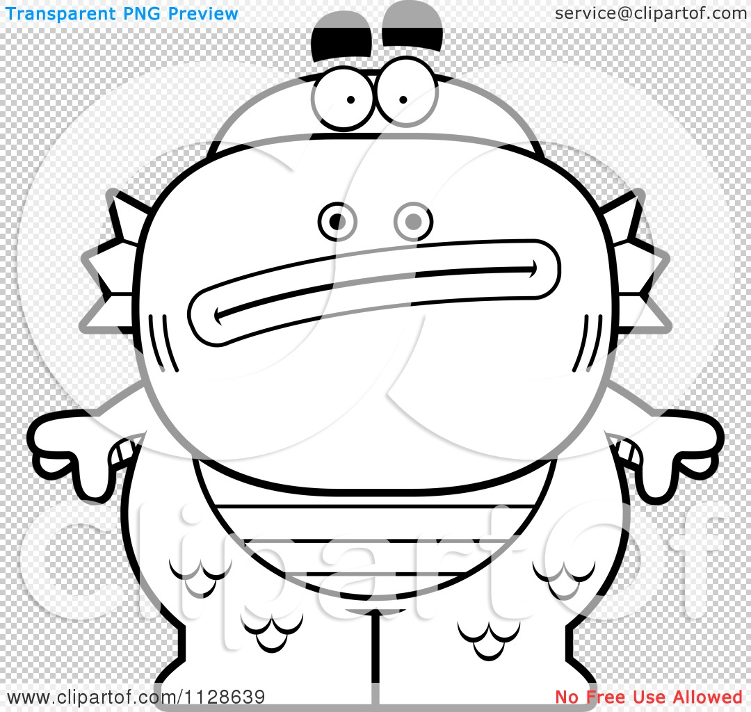 Clipart Of An Outlined Nervous Fish Man Monster Black And White
