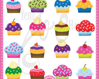 Colorful Cupcakes Clipart Cup Cakes Clip Art Pack 18 Cupcake Design