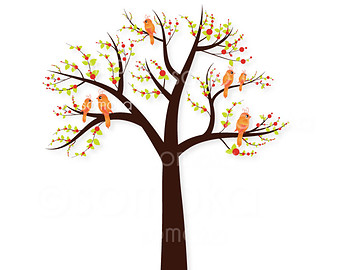 New Design Tree And Birds Digital Clip Art Set   Personal And