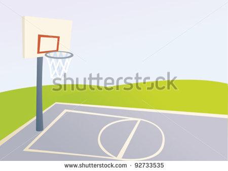 Outdoor basketball court clipart