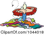 Rf Clip Art Illustration Of A Cartoon Girl In A Pile Of Stinky Laundry