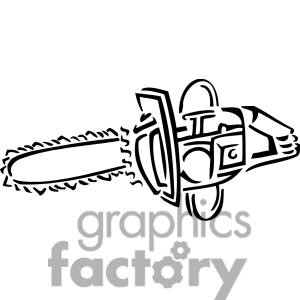 Royalty Free Black And White Chainsaw Clipart Image Picture Art