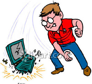 An Angry Man Throwing His Computer To The Ground Royalty Free Clipart