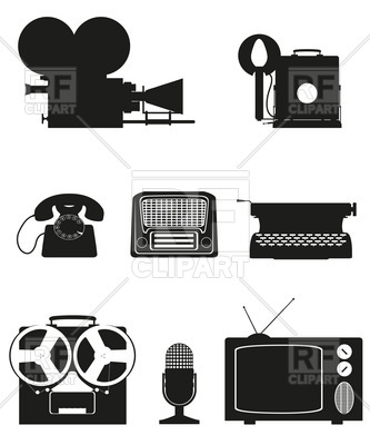 Audio Equipment Black Silhouette Download Royalty Free Vector Clipart