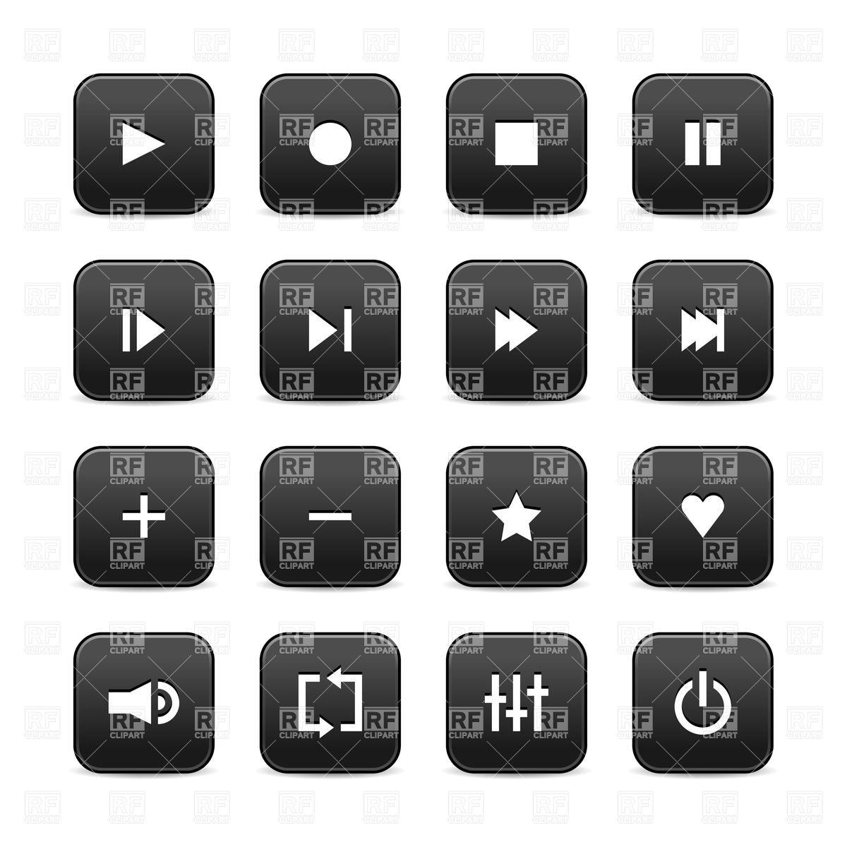 Audio Player Simple Interface Icons Download Royalty Free Vector