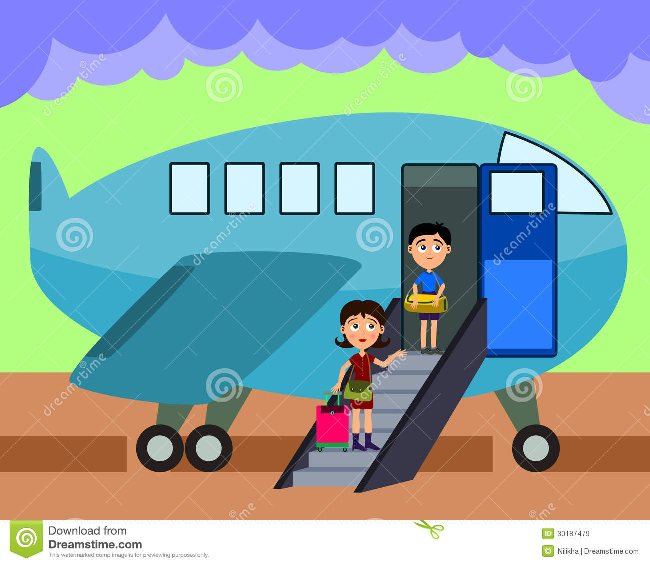 Cartoon Illustration Of A Mother And Son Boarding An Airplane