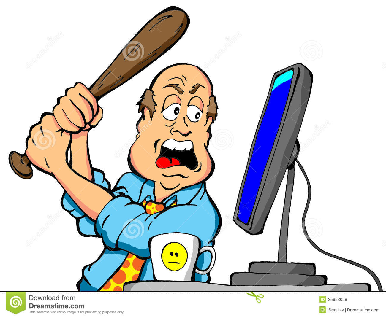 Cartoon Of An Angry Computer User About To Destroy His Computer With A