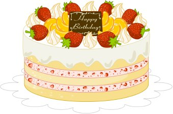 Clip Art Of A Birthday Cake With White Frosting And Pink Icing With