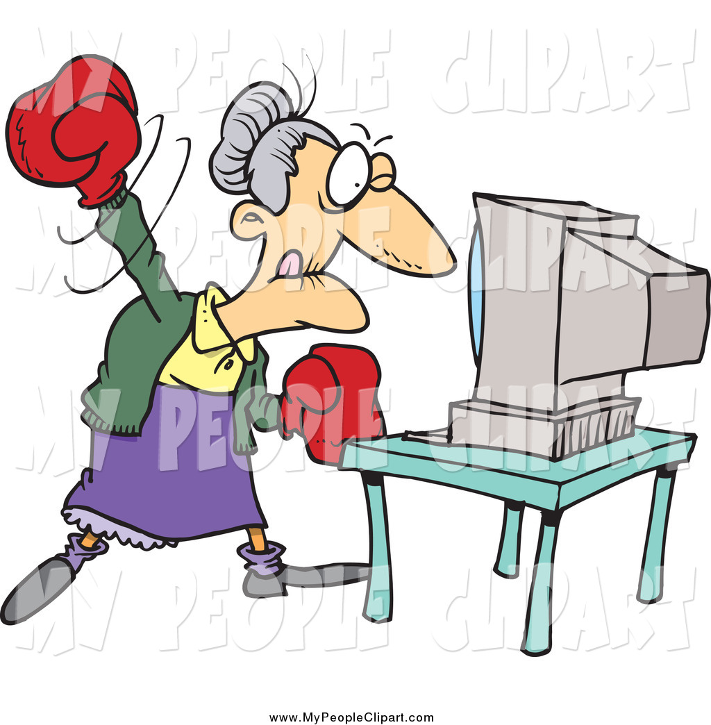 Clip Art Of A Cartoon Angry Granny Beating A Computer With Boxing