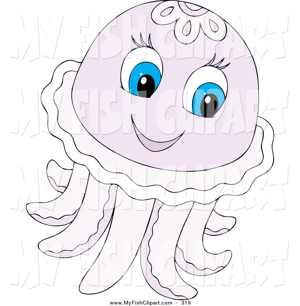 Clip Art Of A Cute Pale Purple Jellyfish With Blue Eyes On White By