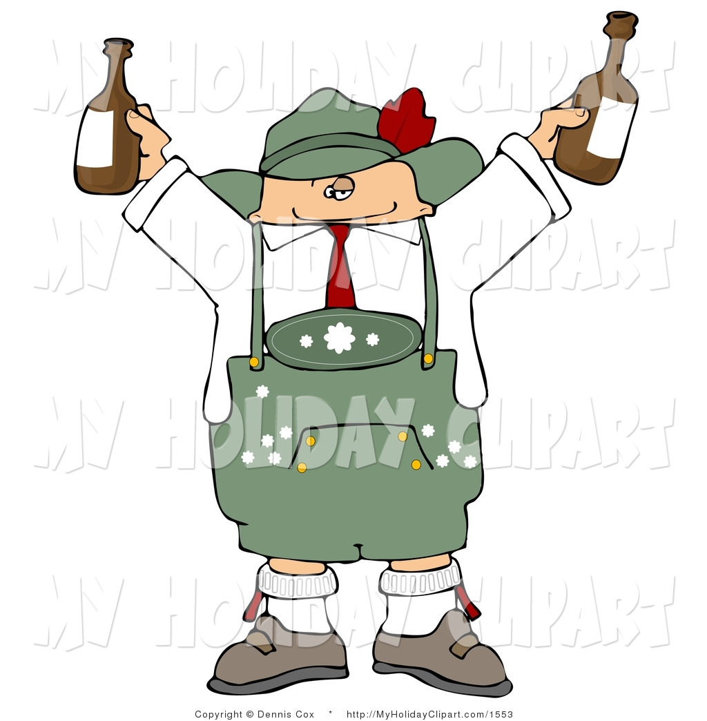 Clip Art Of A Pudgy German Man Celebrating Oktoberfest With A Couple
