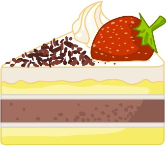 Clip Art Of A Slice Of Cake Or Cheesecake With Whipped Cream Topping
