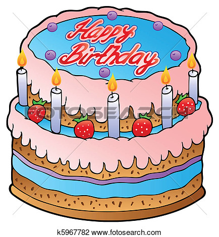 Clipart Of Birthday Cake With Strawberries K5967782   Search Clip Art