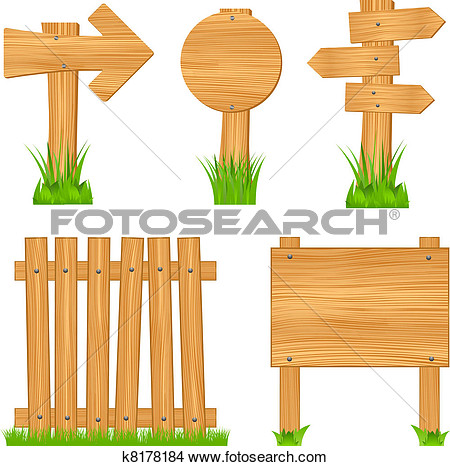 Clipart Of Wooden Arrow Signs Boards And Fence K8178184   Search Clip