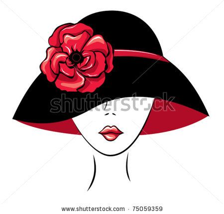 Free Diva Clip Art   Vector Silhouette Of Woman In A Hat With Poppy