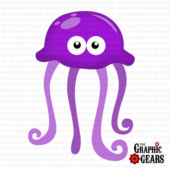 Jellyfish Clip Art   Cute Jellyfish Clip Art  Personal Or Commercial