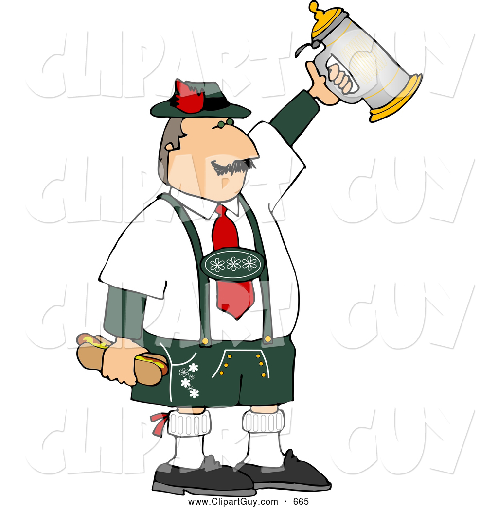 Larger Preview  Clip Art Of Awhite Man Celebrating Oktoberfest With A