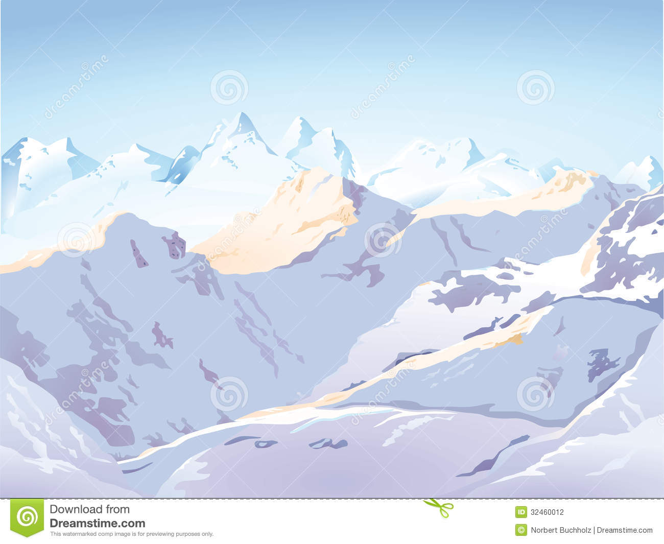 Scenic Illustration Of Snow Capped Mountain Range