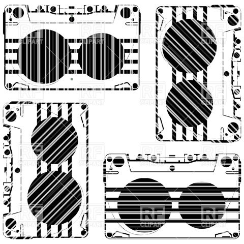 Stylized Audio Tape Cassette Objects Download Royalty Free Vector