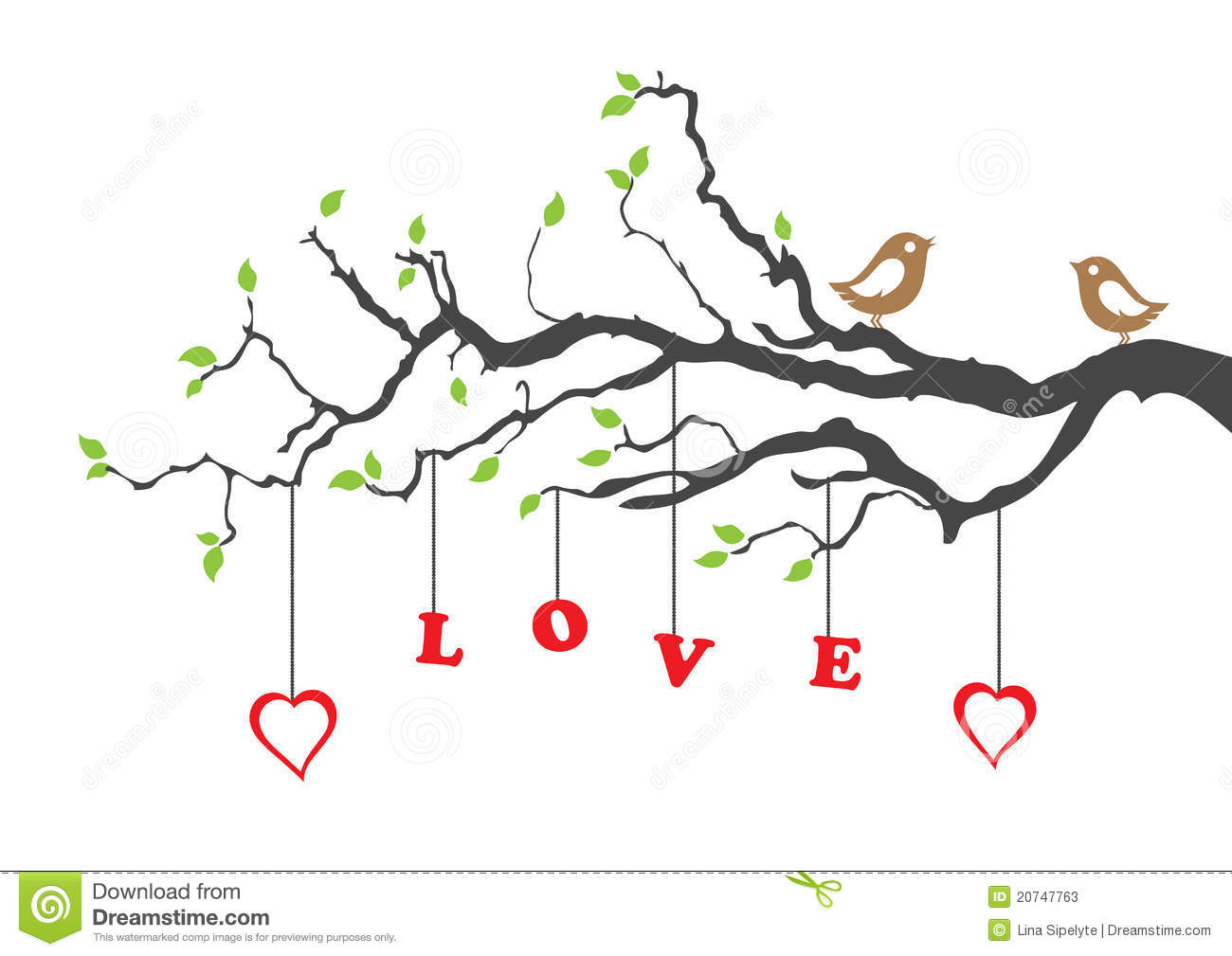 Two Love Birds And Love Tree Greeting Card  This Image Is A Vector