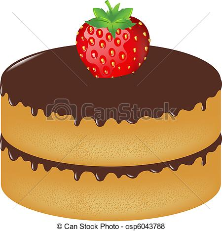 Vector Of Birthday Cake Wit Strawberry Isolated On White Background